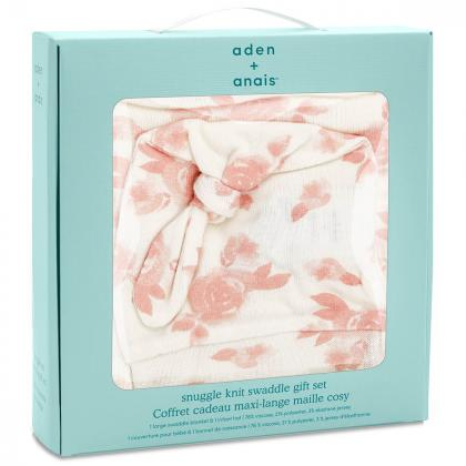 Aden+Anais® Darilni paket Odejica in kapica Snuggle Knit Rosettes