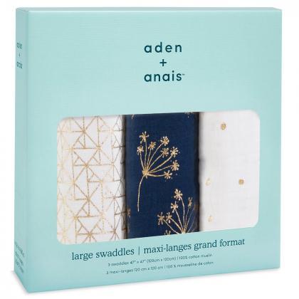 Aden+Anais® Komplet 3 povijalnih pleničk 120x120 Metallic Gold Deco