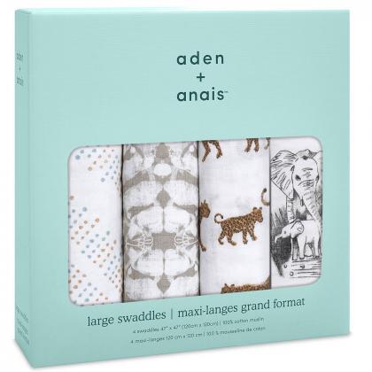 Aden+Anais® Komplet 4 povijalnih pleničk 120x120 Hear me Roar