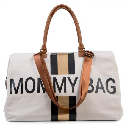 Childhome® Torba Mommy Bag Canvas Off White Stripes Black Gold