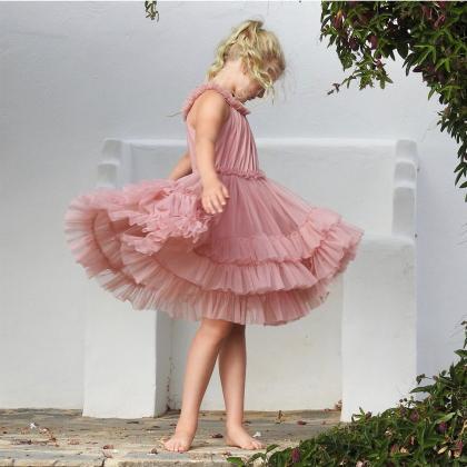 DOLLY by Le Petit Tom® Oblekica Ruffled Chiffon Dusty Pink