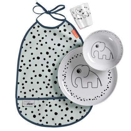 Done by Deer® Jedilni set za hranjenje Happy Dots Blue