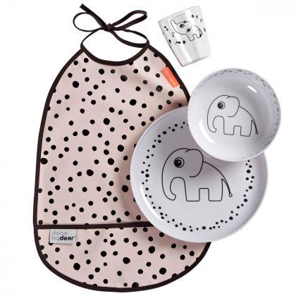 Done by Deer® Jedilni set za hranjenje Happy Dots Powder