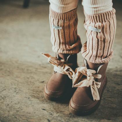 Donsje® Otroški topli čevlji Archie Organza Lavender Brown Leather