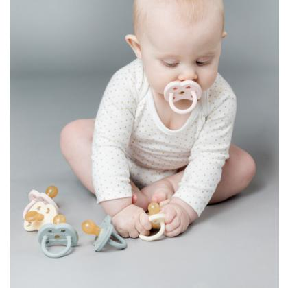Hevea® Ortodontska duda iz kavčuka Colourful Baby Blue