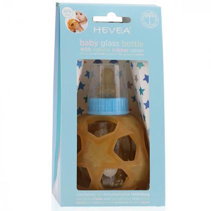 Hevea® Steklenička s snemljivo žogico iz kavčuka 150 ml Blue