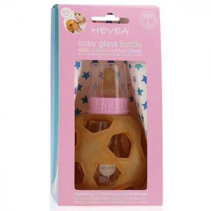Hevea® Steklenička s snemljivo žogico iz kavčuka 150 ml Pink