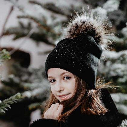 Jamiks® Otroška zimska kapica Doha Black