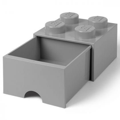 Lego® Kocka s predalnikom za shranjevanje 4 Medium Stone Grey