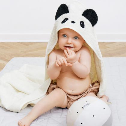 Liewood® Otroška kopalna brisačka Augusta Panda Creme