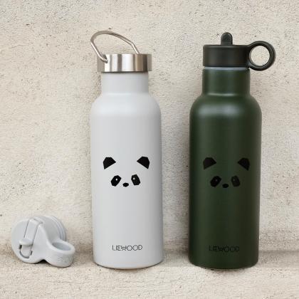 Liewood® Steklenička iz nerjavečega jekla s slamico Neo Panda Light Grey 500ml