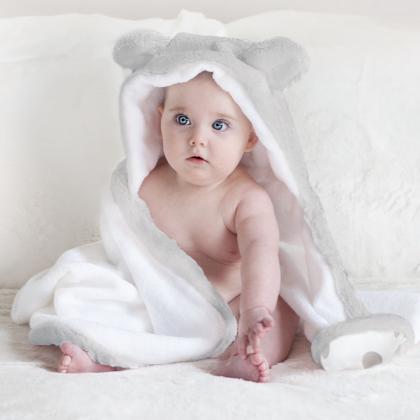 Little Giraffe® Otroška kopalna brisačka Luxe Silver