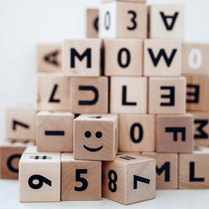 Ooh Noo® Lesene kocke Alphabet blocks Black
