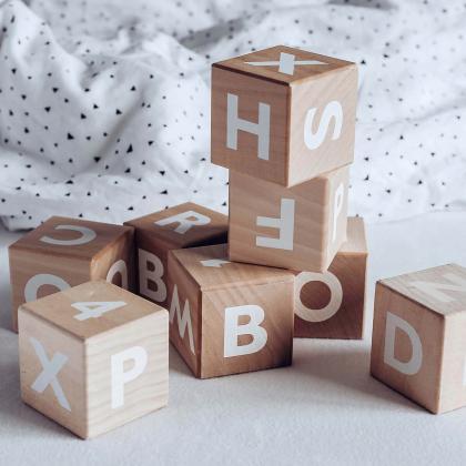 Ooh Noo® Lesene kocke Alphabet blocks White